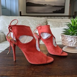 👠 AQUAZZURA Sexy Thing Suede Sandals in Coral
